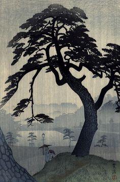 Shiro Kasamatsu (1891-1991)Pine in Rain