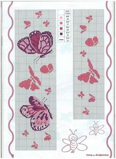 Kawaii Cross Stitch, Mini Cross Stitch, Cross Stitch Borders, Cross Stitch Designs, Cross Stitching, Stitch Patterns, Cross Stitch Letters, Cross Stitch Bookmarks, Butterfly Cross Stitch