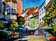 Leonid Afremov Sunny Meersburg Germany oil painting reproductions for sale