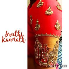 Beautiful red color bridal designer blouse with marriage barrat design hand embroidery bead kundan and zardosi work on sleeve. Brocade Blouse Designs, Kerala Saree Blouse Designs, Saree Jacket Designs, Designer Blouse Patterns, Fancy Blouse Designs, Bridal Blouse Designs, Blouse Neck Designs, Maggam Work Designs, Work Blouse