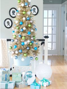 A trick of the decorating trade: Elevate a tree to give it more presence. #holidays #decor #Christmas #DIY