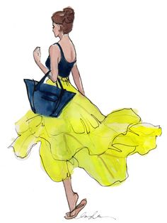 """""""Parachute Skirt"""" ~~ Artist ~Inslee Haynes~ June 22 2012 [""""A lime yellow parachute skirt I saw this morning floating down Second Ave.""""]"""