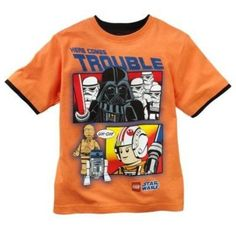 LEGO Star Wars Boy's Mock-Layer Here Comes Trouble Tee Orange Size Medium 5/6 #Legos #Everyday