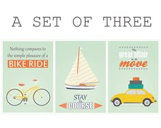 Retro poster A3 set bike sailboat vw beetle by EmuDesigns on Etsy, $49.00