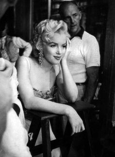 Marilyn Monroe watches the filming of There's No Business Like Showbusiness