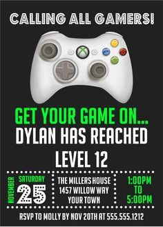 XBOX Birthday Party Invitations
