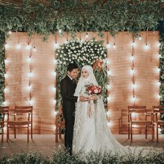 Image may contain: 2 people, people standing and wedding - Hochzeit Muslimah Wedding Dress, Muslim Wedding Dresses, Country Wedding Dresses, Wedding Hijab, Dress Wedding, Wedding Stage, Wedding Poses, Wedding Couples, Wedding Day