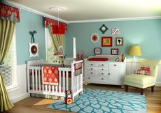 Aqua blue, red, and lime green nursery.     This is the color scheme I want for Eden. Minus crib and flowery stuff.