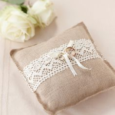 Our stunning hessian ring cushion with lace trim is the perfect addition for any rustic wedding.Vintage Hessian Ring Cushion - Our stunning hessian ring cushion with lace trim is the perfect addition for any rustic wedding.Vintage Hessian Ring Cushion - O Hessian Wedding, Wedding Pillows, Rustic Wedding, Gold Wedding, Decor Wedding, Wedding Ceremony, Wedding Ideas, Burlap Ring Pillows, Ring Bearer Pillows