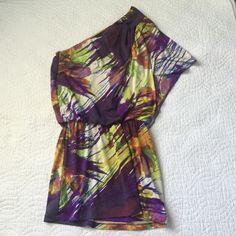 Jessica Simpson one shoulder dress 95% polyester, 5% spandex. Elastic band at waist. Jessica Simpson Dresses