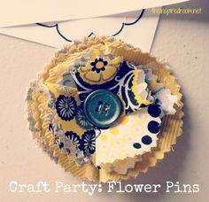 the inspired room:fabric flower pin craft chocolate fountain party