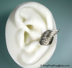 God's messenger Archangel ear cuff wrap in slightly antiqued silver Style 2 wing