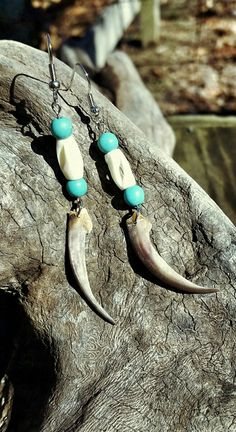 Badger Claw Earrings w/ Bone Hairpipe Beads by OutdoorsmanCreations on Etsy