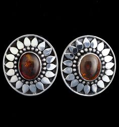 Silver Amber Clip Earrings handcrafted in Sterling Silver by Bluemoonstone Creations.