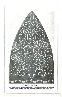Smoking Cap of velvet, Arthur's Ladies' Home Magazine, 1860.