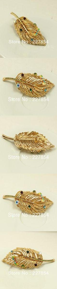 Accessories Zinc Alloy Rhinestone Leaf Design Big Brooches for Women Lady Fashion Gift Handmade Inlaying dragonfly brooch