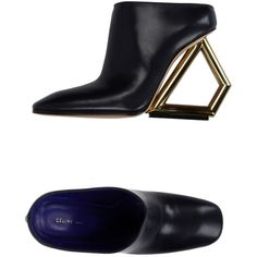 Céline Mules ($1,493) ❤ liked on Polyvore featuring shoes, dark blue, leather sole shoes, leather mules, leather shoes, dark blue shoes and leather footwear