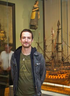 Frank Turner visited the ship model gallery after his performance. Museum of Fine Arts, Boston.