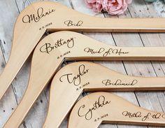 11 Bridesmaid Hangers Engraved Wooden Hanger by WillowGraceBridal