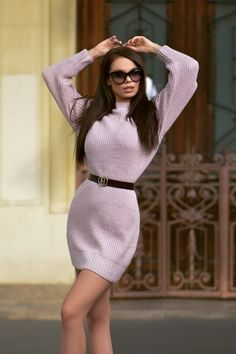 Rochie casual scurta tricot lila - Smart Shopping Online Casual, Sweaters, Shopping, Dresses, Fashion, Tricot, Vestidos, Moda, Fashion Styles