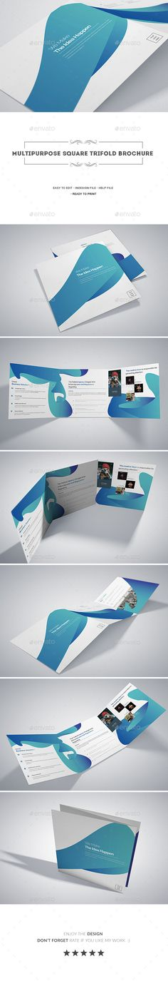 Multipurpose Square Tri-fold Brochure Template InDesign INDD