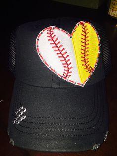 Baseball Softball Trucker Hat Baseball Cap by BlessYourHat on Etsy Softball  Mom 50b0a7b0ab08