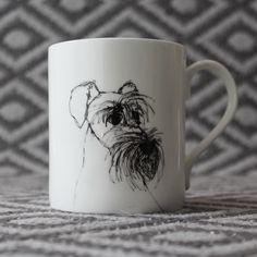 Bone china Schnauzer mug by Nadia Sparham. Designed and made in the UK.