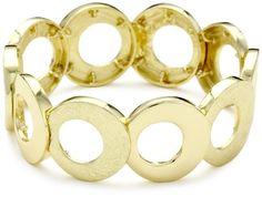 Anne Klein Gold-Tone plated Circular Stretch Bracelet - Anne, bracelet, Circular, GoldTone, Klein, Plated, Stretch - http://designerjewelrygalleria.com/anne-klein-jewelry/anne-klein-gold-tone-plated-circular-stretch-bracelet/