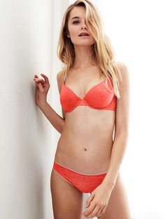 Slip something on over this bra and that bold shade is your little secret—those soft, sleek cups disappear. | Victoria's Secret T-Shirt Demi Bra