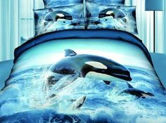 $ 111.09 New Arrival Top Class Ocean Star Jumping Dolphin Print 4 Piece Bedding Sets/Duvet Cover Sets