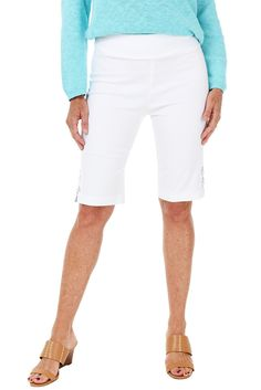 Enjoy the warm weather in these chic and flattering bermuda shorts by Isadela. They feature a comfortable stretch fabric and pull-on styling for a tailored clea Stitch Fit, Work Shorts, Warm Weather, Stretch Fabric, Bermuda Shorts, Cool Outfits, Stylists, Style Inspiration, Clothes For Women