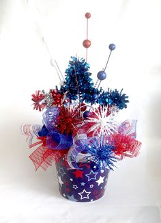 Large Patriotic floral arrangement, July 4th Centerpiece, Summer table centerpiece, red white
