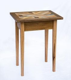 Reclaimed Wood Mosaic End Table by Gray Fox Design Works on Scoutmob Shoppe Grey Furniture, Industrial Furniture, Furniture Design, Table Legs, Wood Table, Grey Side Table, Wood Mosaic, Fox Design, Salvaged Wood