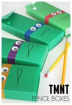 Teenage Mutant Ninja Turtle Pencil Box Cases. Decorate pencil boxes to look like the TMNT for back-to-school season!