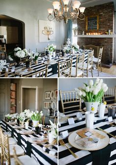 We love this look, so chic and in fashion right now! Try this sophisticated black and white tablescape in our winery @Cliff Currie Lede Vineyards