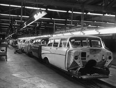 1957 Chevrolet Wagon Assembly Line Detroit Cars, Assembly Line, Gm Car, 1957 Chevrolet, Car Advertising, Vintage Trucks, Car Pictures, Car Pics, Station Wagon