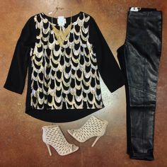 [Gorgeous Gold] Black Scalloped Gold- $52. {Online & In-Store}  Leather Moto Legging- $48.  Cut Out Carley- $44. {Online & In-Store}   Gold Bead Bib- $18. -All Items In-Store, Call To Purchase. 479.464.9261.  #elysianlove #gold #holidaystyle #leather