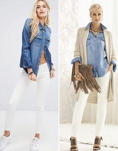 С чем носить джинсовую рубашку женскую #denim #tottaldenim #denimshirt #denimfashion