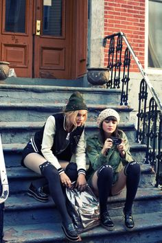 Fall Winter 2014 #Todomoda #BrooklynWinter ▶ College Grunge + Meow Socks. Models: Paige Reifler, New York Models; Léticia Orchanheski, ONE Models Management.