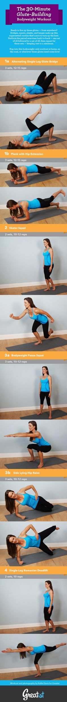 The 30-Minute Glute-Building Bodyweight #Workout      #fitness #exercise