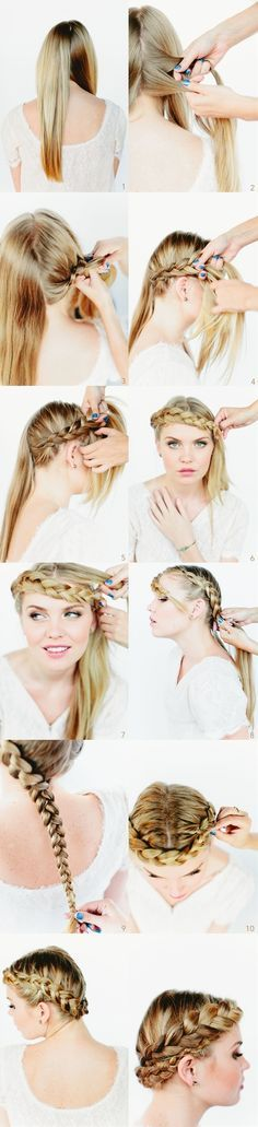 see crown braids - step by step tutoria how to do - Click image to find more Hair & Beauty Pinterest pins