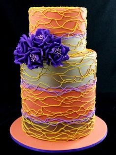 Neon colors wild spiral piping cake with purple roses Beautiful Wedding Cakes, Gorgeous Cakes, Pretty Cakes, Amazing Cakes, Cupcakes, Cupcake Cakes, Rodjendanske Torte, Dream Cake, Colorful Cakes