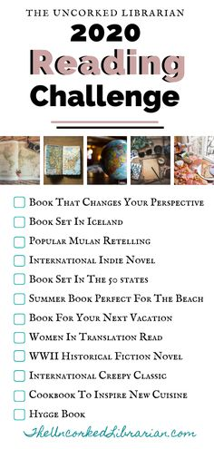 Join The Uncorked Librarian's 2020 Reading Challenge. If you are looking for a low-key reading challenge this read at least one themed book a month. This reading list focuses on books to inspire travel, books set in destinations, and diverse and inte Book Challenge, Reading Challenge, Challenge Ideas, Book Club Books, Book Lists, Reading Lists, Book Series, Reading Room, Book Nerd