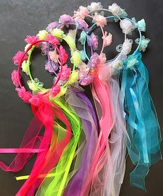 Love this Pink & Green Flower Halo Headband Set by Cutie Collections on… Halo Headband, Diy Headband, Headbands, Diy And Crafts, Crafts For Kids, Fairy Birthday Party, Neon Party, Diy Hair Accessories, Floral Crown