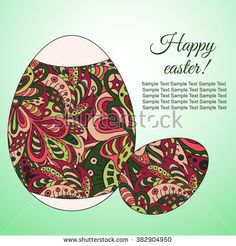 Doodle Zentangl drawing. Holiday card. Happy easter. Cherry and green colors  #bubushonok #art #bubushonokart #design #vector #shutterstock  #pattern #card #holidays #doodle #holiday #banner