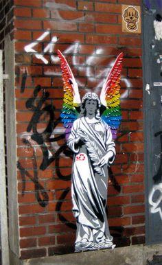 rainbow angel, by streetartist decycle, in duesseldorf, germany #art #streetart #angel #color #wings #decycle. street art 000