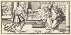 Truth (with padlocked lips -- SEE NEXT) has recently given birth to Knowledg (in cradle). Hatred comes storming in wielding a lance aimed at Fear, a sleepy old man. mid-16C Netherlandish woodcut by Cornelis Anthonisz. Theunissen, issued by Jan Ewoutsz. (whose printer's device appears in the window glass). via Rijksmuseum