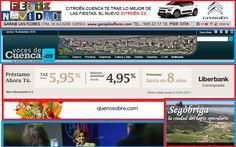 En rojo, publicidad, en azul, el banner del menú y parte de una noticia de la que no se ve el titular.