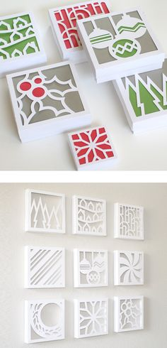 Canvas cutouts - flip over canvas, stencil, cut with x-acto knife. You can glue paper to back of canvas for a pop of color.