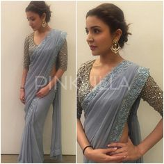 Bollywood Special - Bollywood Replica - Anushka Sharma Designer Grey Saree - - Products Details :Style : Bollywood Replica Wedding Wear / Party Wear SareeSaree Size : Free SizeLength Of Saree :&n Bollywood Saree, Indian Bollywood, Bollywood Fashion, Indian Sarees, Saree Fashion, Bollywood Wedding, Saree Wedding, Wedding Wear, Dress Wedding